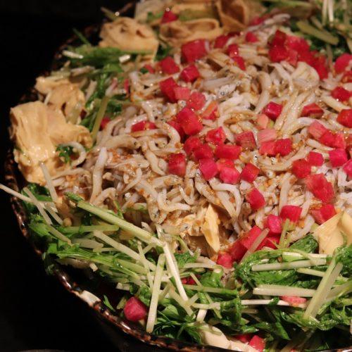 いちょう坂(品川プリンスホテル)のビュッフェ|湯葉山椒としらすの水菜和え