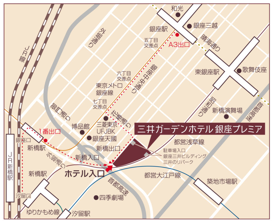 一休掲載|sky(三井ガーデンホテル銀座プレミア)のビュッフェ|地図