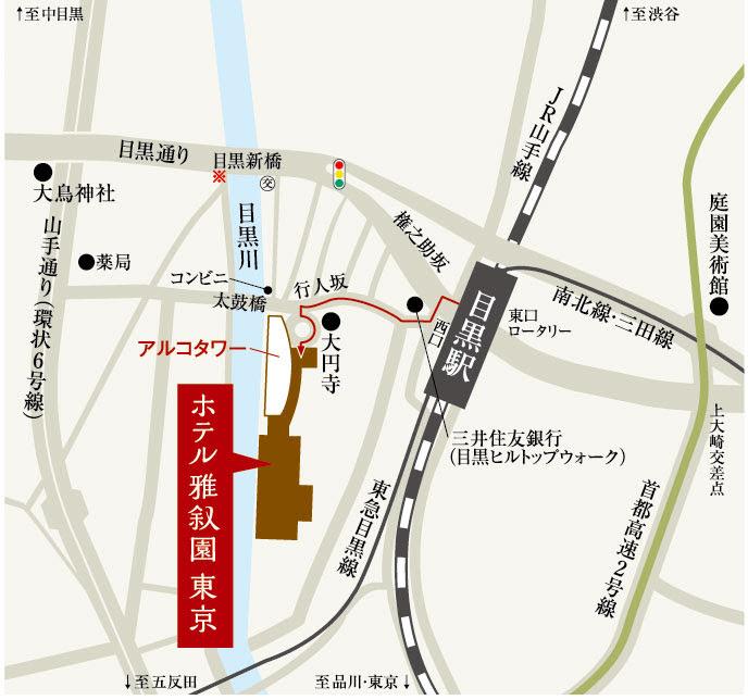 カナデテラス(ホテル雅叙園東京)のビュッフェの地図