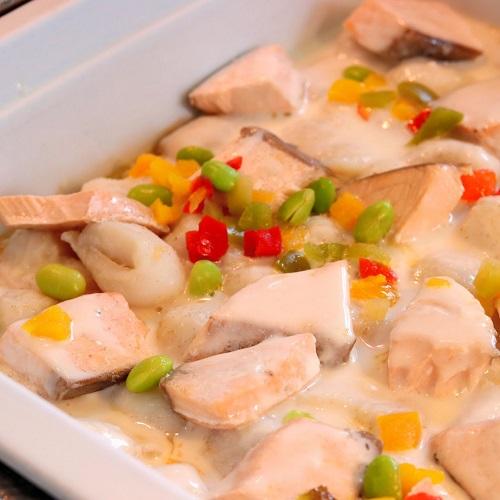 白身魚とサーモンのオーブン焼き