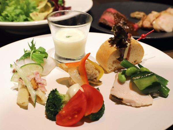 ホテル雅叙園東京のランチビュッフェ|前菜盛り合わせ